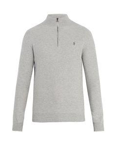 Half-Zip Logo-Embroidered Pima-Cotton Sweater, Grey. Ralph LaurentPolo Ralph  LaurenIce Pops