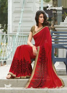 The super duper printed saree will become your party wear. The brocade blouse with elegant sleeves is included with the saree.