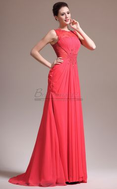 #bridesmaiddresses Red Bateau Neckline Long Chiffon and Lace Mermaid Bridesmaid Dress JT-CA1351