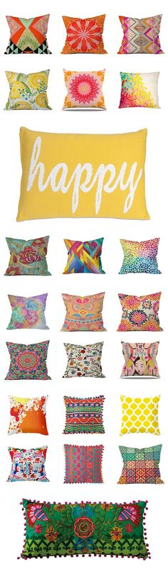 Mix and match colorful throw pillows - Trending - Colorful home #interior ==