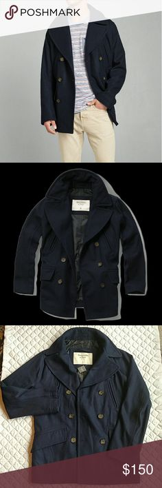 Abercrombie navy wool peacoat Large w/ FREE socks A&F navy wool peacoat.  2 inside pockets, 2 outside, and 2 more by your chest to stay extra warm with all that storage going on!  Comes with free A&F camping socks! Abercrombie & Fitch Jackets & Coats Pea Coats