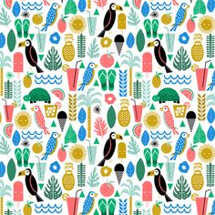 smaller tropical islands - girly fruit trendy pattern toucan bird turtle margarita fabric by charlottewinter on Spoonflower - custom fabric