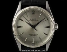 Rolex Stainless Steel Rare Oyster Perpetual Silver Dial Gents 6567 Rolex Oyster Perpetual, Vintage Rolex, Breitling, Oysters, Cartier, Rolex Watches, Clock, Silver, Stainless Steel