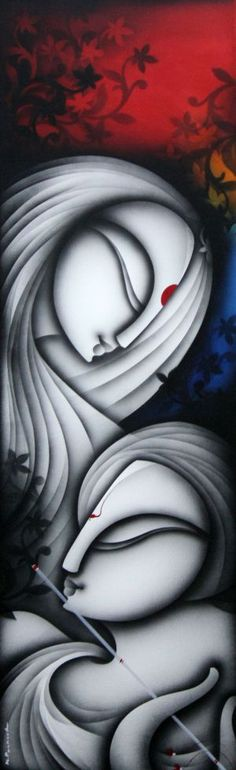 Buy Love artwork number a famous painting by an Indian Artist K Prakash Raman. Indian Art Ideas offer contemporary and modern art at reasonable price. Indian Artwork, Indian Art Paintings, Modern Art Paintings, Buy Paintings, Krishna Painting, Krishna Art, Peacock Canvas, Abstract Face Art, Girl Drawing Sketches