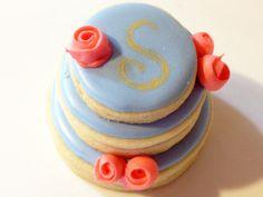 Stacked wedding cake cookies-