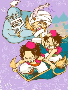 Ace, Sabo, Luffy, and Genie Garp Oh my god, they wearing fezzes!!