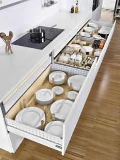 There is no question that designing a new kitchen layout for a large kitchen is much easier than for a small kitchen. A large kitchen provides a designer with adequate space to incorporate many convenient kitchen accessories such as wall ovens, raised. Diy Kitchen Storage, Kitchen Cabinet Organization, Kitchen Cabinet Design, Home Decor Kitchen, New Kitchen, Cabinet Ideas, Kitchen Ideas, Kitchen Hacks, Cabinet Storage