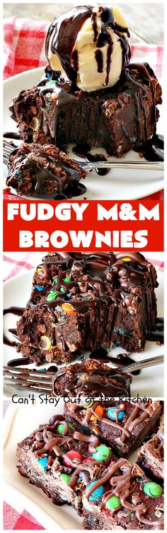 Fudgy M&M Brownies |  2 cups unsalted butter melted  2 1/2 cups cocoa 1 1/2 cups sugar 4 large eggs 2 tbsp. vanilla extract 2 cups Bob's Red Mill gluten free brown rice flour or Gold Medal unbleached all-purpose flour (bleached flour toughens baked goods) 1 tsp. sea salt 4 cups m&ms (divided use)