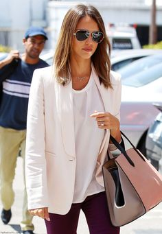 Jessica Alba street style with Max Mara white blazer and Smythson tote.  Jessica Alba Style e210f8bedab