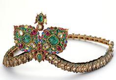 Gold, Cabochon Emerald, Cabochon Ruby, Diamond, White Sapphire And Enamel Diadem  c.19th Century