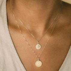 You'll have a sunshiney day wearing this little necklace.  10k solid gold Pendant measures 12mm Made in Italy Engravings are case sensitive Gold Necklace Simple, Gold Coin Necklace, Gold Jewelry Simple, Summer Necklace, Solid Gold Jewelry, Coin Jewelry, Beaded Necklaces, Layered Gold Necklaces, Jewlery