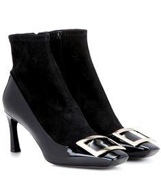 Roger Vivier Bootie Trompette Patent Leather And Suede Ankle Boots In Black Suede Ankle Boots, Black Ankle Boots, Roger Vivier Shoes, Teen Vogue, Types Of Shoes, Designer Shoes, Patent Leather, Peep Toe, Women Wear