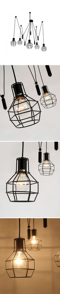 This chandelier made of iron is so charming for its lines distribution on the air. Lines connect with both shades and the useful board which helps to stabilize the chandelier.
