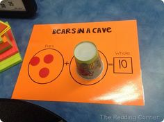 Daily 5 Partner Game, Bears in a Cave (missing addend). This could be a good activity to get students to think of a way to find a number in the beginning of number sentence instead of the end. It can use addition and subtraction with this activity. Math Classroom, Kindergarten Math, Classroom Design, Elementary Math, Teaching Math, Teaching Ideas, Math Stations, Math Centers, Math Resources