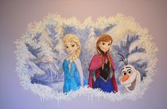 Detail of Frozen mural I hand-painted in a girl's bedroom!  See my work @ www.WallArtByTony.com