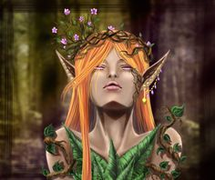 And here is the final product to that previous lineart. Still all done on Photoshop with my wonderful trusty Huion Tablet! Elf Druid, Time Art, Finals, Art Pieces, My Arts, Photoshop, Princess Zelda, Fictional Characters, Instagram