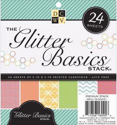 Paper Stack Glitter Cardstock 6 X6 24 Sheets Basic Prints 12 Designs Scrapbook  #PaperStackGlitter