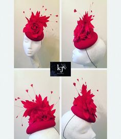 Felt button base with silk roses and trimmed feather spray #kjmillinery #readytowear