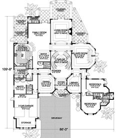 Florida Style House Plans - 7502 Square Foot Home, 2 Story, 7 Bedroom and 7 3 Bath, 2 Garage Stalls by Monster House Plans - Plan 37-196