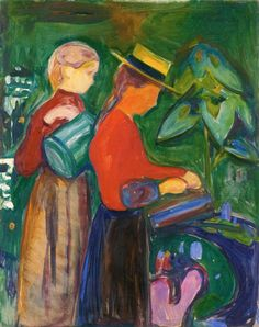 edvard munch(1863-1944), girls watering flowers (the linde frieze), 1904. oil on canvas, 99.5 x 80 cm. munch-museet, oslo, norway http://www.the-athenaeum.org/art/detail.php?ID=89956
