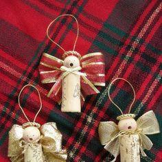 Wine cork angel ornament