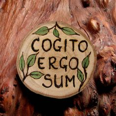 Cogito Ergo Sum - I think, therefore I am - Nerd Latin Pyrography Rustic Twig Slice Brooch - Button - Pin by Tanja Sova  $14