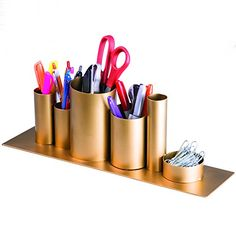 MyGift Desk Organizer 6 Cylindrical Compartment Office Supplies Caddy Brass