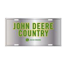 John Deere Yellow Logo on Green Embossed Metal License Plate Tag