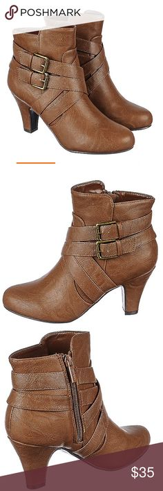 Brand new boots coming soon Ankle boots are those type of boots that are okay to wear both in the summer and fall. The Semi-S features a western look with a classy feel and low heel. Rock it with a pair of shorts with a plaid button down for the latter part of the summer and early fall and with jeans and a plaid sweater for the winter months.  Heel height: 3.25 in. Shaft: 4.15 in. Opening: 10.50 in. (approx.) Vegan leather Side zipper closure  Round toe Side buckle accent All man made…