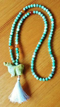 $63.45 Green Jade Mala Beads Buddhist Prayer Beads by BlueWorldTreasures