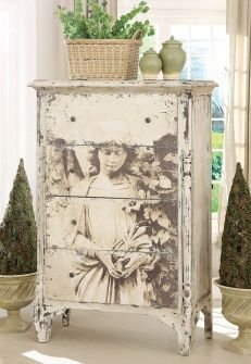 how amazing is this..transfer paper..to an old..must be old..dresser of buffet..the trick is to make sure..its not too small for peice..let it run out of room..looks better.: