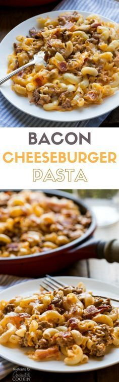 This delicious Bacon Cheeseburger Pasta combines elbow macaroni, ground beef, and bacon along with cheddar and mozzarella cheeses for a hearty weeknight family dinner! | can be made gluten free
