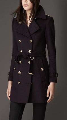 Mid-Length Slim Fit Wool Cashmere Trench Coat   Burberry