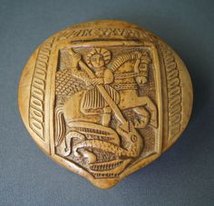 Antique George and the Dragon carved wooden snuff box treen