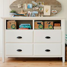 I love the surf board pin board...I could do this for surfer chick...she has similar dresser shelves...