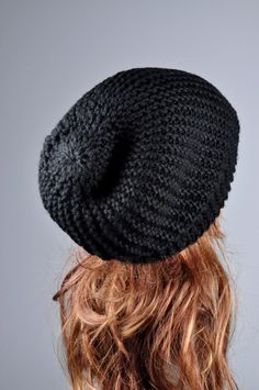 """Beautiful slouchy hat! This stylish slouchy hat is made of wool blend chunky yarn in black. This hat is long enough to cover your ears to keep warm. Length:13"""" from top to bottom Circumference: 19"""" (relaxed) 26"""" (stretched) – fit any size head! Hand wash in cold water with detergent"""