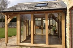 oak framed extensions - Google Search Orangerie Extension, Extension Veranda, Cottage Extension, Glass Extension, Extension Ideas, Extension Google, Conservatory Extension, Garden Room Extensions, House Extensions