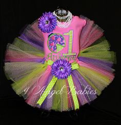 Ladybug Purple, Green Gingham, & Pink Girls Personalized Birthday Tutu Outfit personalized with name, number, size and includes hair piece, tutu, and top, shirt or onesie