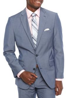 Madison Chambray Modern-Fit Blue Chambray Sport Coat