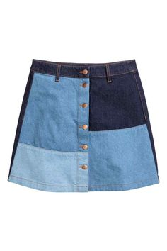 36 Takes on Spring Denim That Aren't Jeans A Line Denim Skirt, Button Front Denim Skirt, Blue Denim Skirt, A Line Skirts, Short Skirts, Mini Skirts, Blue Skirts, Estilo Denim, Mode Jeans
