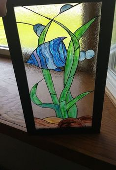 faux stained glass with unicorn spit and old picture frame, crafts, how to, repurposing upcycling, wall decor, Oh so pretty