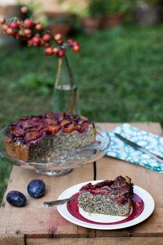 Plum poppy seed cake