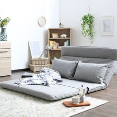 "Universe of goods - Buy ""Living Room Futon Chair Sofa Bed Furniture Japanese Floor Legless Modern Fashion Leisure Fabric Reclining Futon Sofa Chair Bed"" for only 259 USD. Floor Couch, Mattress On Floor, Futon Mattress, Futon Diy, Futon Bedroom, Pallet Futon, Master Bedroom, Futons, Couches"