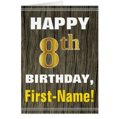 Bold Faux Wood Faux Gold 8th Birthday  Name Card - birthday cards invitations party diy personalize customize celebration