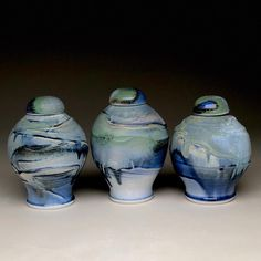 Lidded wheel-thrown pottery urns by David Lee. David Lee, Wheel Thrown Pottery, Urn, Glaze, Porcelain, Artists, How To Make, Etsy, Beautiful
