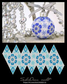 Gonna try this cut out on a round styrofoam ball Crochet Ornaments, Beaded Christmas Ornaments, Christmas Balls, Crochet Christmas, Crochet Ball, Bead Crochet Rope, Seed Bead Flowers, Beaded Flowers, Seed Beads