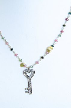 Give your Valentine the key to your heart! Multicolored Tourmaline Necklace $390.00http://www.etsy.com/listing/172855366/multicolored-tourmaline-necklace?ref=shop_home_active_14