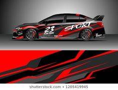 Similar Images, Stock Photos & Vectors of Racing car wrap design vector. Graphic abstract stripe racing background kit designs for wrap vehicle, race car, rally, adventure and livery - 1202191921 Car Stickers, Car Decals, Pickup Trucks, Pick Up, Directional Signage, Racing Car Design, Design Vector, Van Design, Grunge