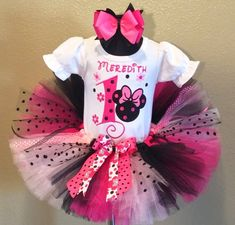 Pink Little Flowers Minnie Mouse Girls Birthday Tutu Outfit