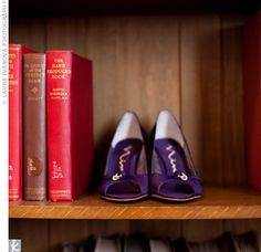 Purple shoes + books.  So very Laura. :)  Real Weddings - A Modern Wedding in St. Paul, MN - Purple Bridal Shoes